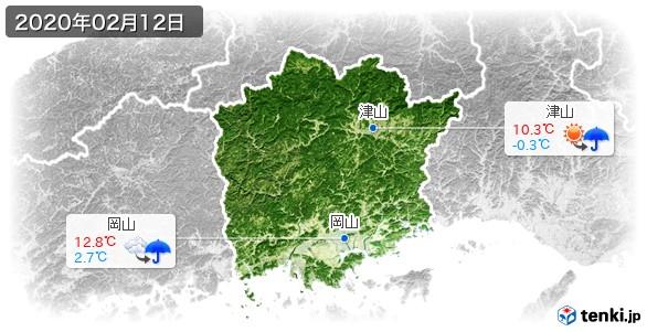 岡山県(2020年02月12日の天気