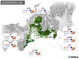 2020年02月13日の東海地方の実況天気
