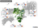 2020年02月13日の近畿地方の実況天気