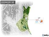 2020年02月13日の茨城県の実況天気