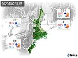 2020年02月13日の三重県の実況天気