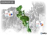 2020年02月13日の京都府の実況天気