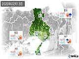 2020年02月13日の兵庫県の実況天気