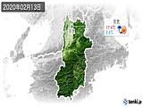 2020年02月13日の奈良県の実況天気