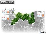 2020年02月13日の鳥取県の実況天気