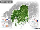 2020年02月13日の広島県の実況天気