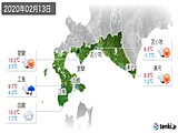 2020年02月13日の道南の実況天気