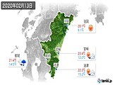 2020年02月13日の宮崎県の実況天気