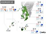 2020年02月13日の鹿児島県の実況天気