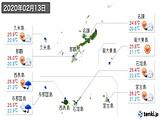 2020年02月13日の沖縄県の実況天気