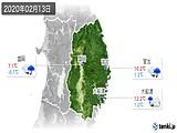 2020年02月13日の岩手県の実況天気