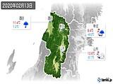 2020年02月13日の山形県の実況天気
