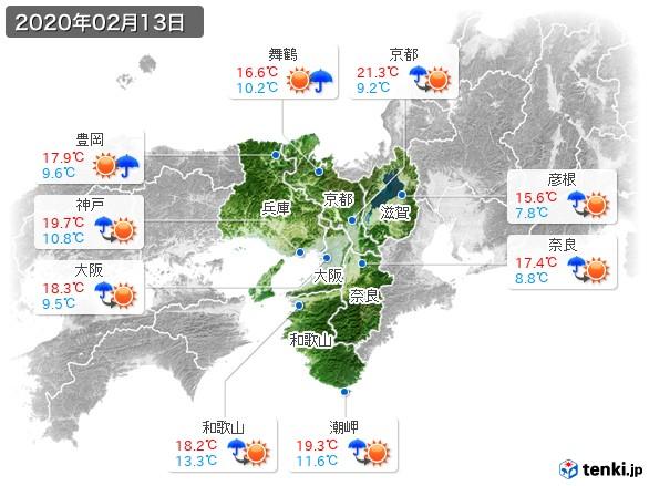 近畿地方(2020年02月13日の天気
