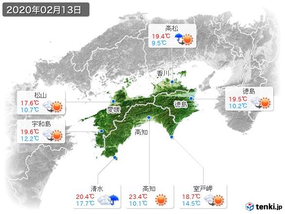 四国地方(2020年02月13日の天気