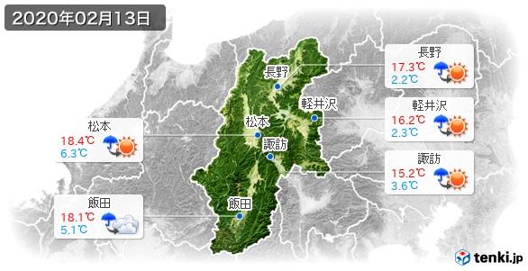 長野県(2020年02月13日の天気