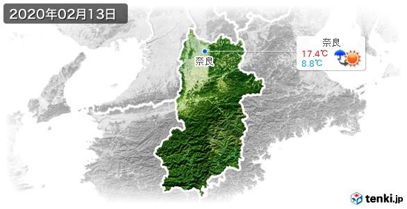 奈良県(2020年02月13日の天気