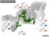 2020年02月14日の東海地方の実況天気
