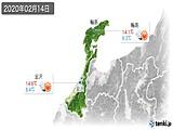 2020年02月14日の石川県の実況天気