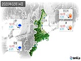 2020年02月14日の三重県の実況天気