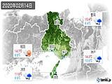 2020年02月14日の兵庫県の実況天気