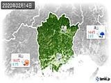 2020年02月14日の岡山県の実況天気