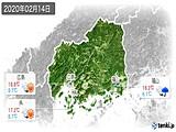 2020年02月14日の広島県の実況天気