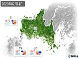 2020年02月14日の山口県の実況天気