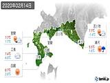 2020年02月14日の道南の実況天気