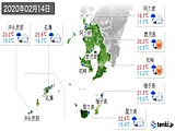 2020年02月14日の鹿児島県の実況天気