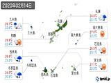2020年02月14日の沖縄県の実況天気