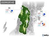 2020年02月14日の山形県の実況天気