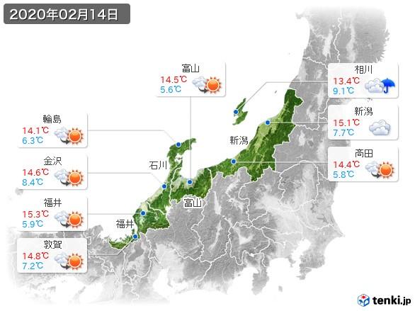北陸地方(2020年02月14日の天気