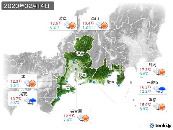 東海地方(2020年02月14日の天気