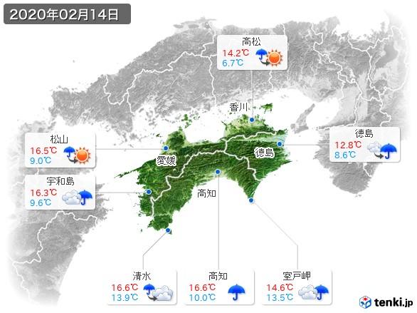 四国地方(2020年02月14日の天気