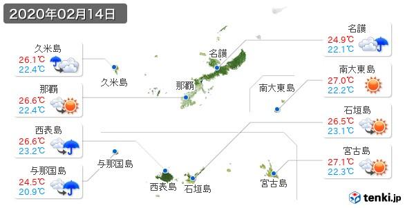 沖縄県(2020年02月14日の天気