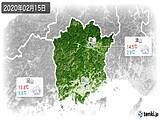 2020年02月15日の岡山県の実況天気