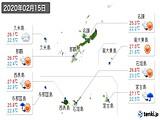 2020年02月15日の沖縄県の実況天気