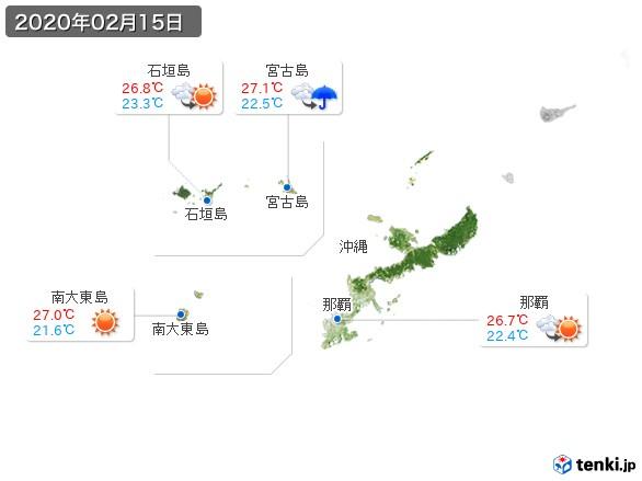 沖縄地方(2020年02月15日の天気