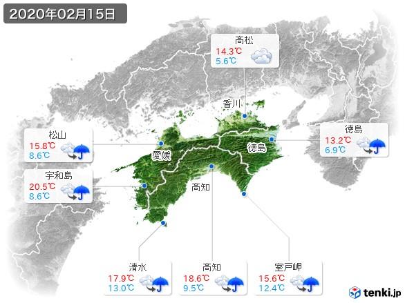 四国地方(2020年02月15日の天気