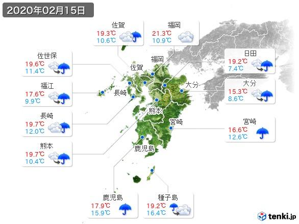 九州地方(2020年02月15日の天気