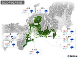 2020年02月16日の東海地方の実況天気