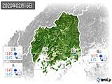 2020年02月16日の広島県の実況天気