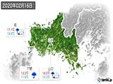 2020年02月16日の山口県の実況天気