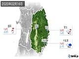 2020年02月16日の岩手県の実況天気