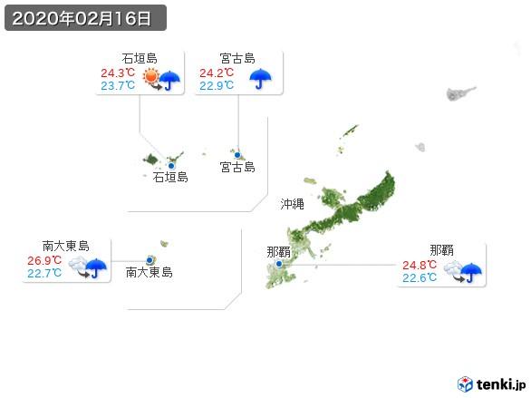 沖縄地方(2020年02月16日の天気