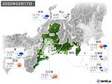 2020年02月17日の東海地方の実況天気