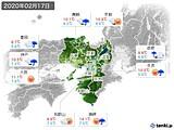 2020年02月17日の近畿地方の実況天気