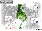 2020年02月17日の兵庫県の実況天気