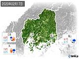 2020年02月17日の広島県の実況天気