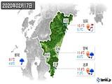2020年02月17日の宮崎県の実況天気